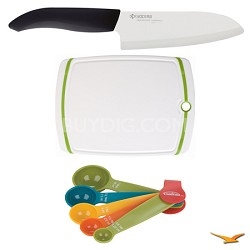 "Revolution Series 5-1/2"" Santoku Knife, Cutting Board, and Spoon Set Bundle"