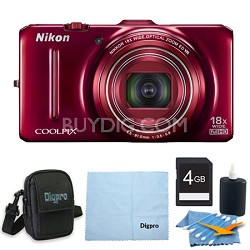 COOLPIX S9300 16MP 18x Opt Zoom 3.0 LCD Digital Camera 4GB Red Bundle