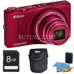COOLPIX S9500 18.1 MP 22x Zoom Built-In Wi-Fi Digital Camera Red Plus 8GB Kit