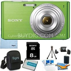 Cyber-shot DSC-W610 Green 8GB Digital Camera Bundle