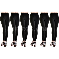 6-Pack Fleece Lined Leggings Midnight Black X-Large Size (1X/2X)