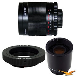 500M / 1000mm f/8.0 Mirror Lens for Pentax with 2x Multiplier