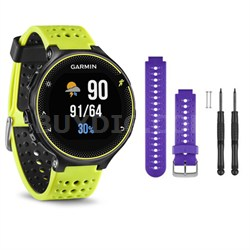 Forerunner 230 GPS Running Watch, Force Yellow - Purple Watch Band Bundle