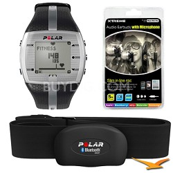 FT7  Heart Rate Monitor Watch - Black/Silver Bundle