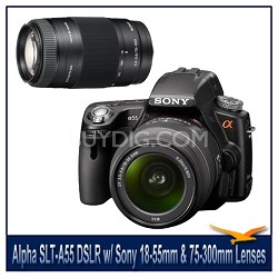Alpha SLT-A55 16.2 MP DSLR Kit w/ Sony 18-55mm Lens & 75-300mm f/4.5-5.6 Lens