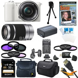 a5100 Mirrorless Camera w/ 16-50mm and 55-210mm Zoom Lens White Bundle