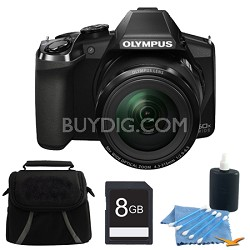 Stylus SP-100 16MP Digital Camera Black 8GB Bundle