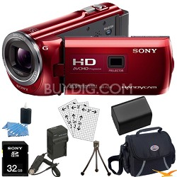 HDR-PJ380/R 16GB Full HD Camcorder with Projector (Red) Ultimate Bundle