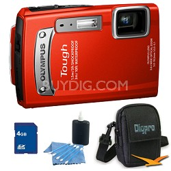 4GB Kit Tough TG-320 14MP Waterproof Shockproof Freezeproof Digital Camera - Red