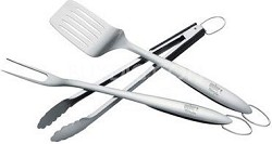 Professional-Grade Stainless-Steel 3-Piece Barbeque Tool Set