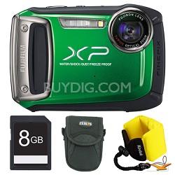 Finepix XP100 Green Digital Camera 8GB Floating Strap Bundle