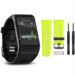 vivoactive HR GPS Smartwatch - X-Large Fit (Black) Force Yellow Band Bundle