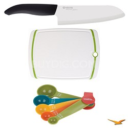 """Revolution Series 6-1/4"""" Chef's Knife, Cutting Board, and Spoon Set Bundle"""