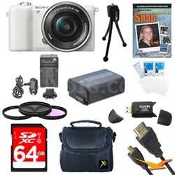 a5100 Mirrorless Camera w/ 16-50mm Zoom Lens White Bundle
