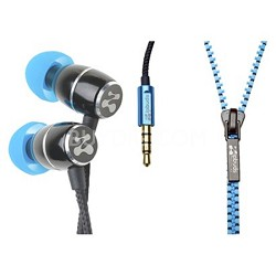 FRESH Noise-Isolating Metal Earbuds with Tangle Free Zipper Cabling (Blue)