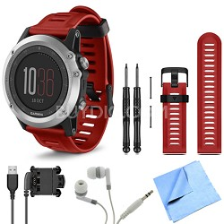 fenix 3 Multisport Training Silver GPS Watch Red Band Bundle