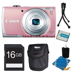 PowerShot A2600 Pink 16MP Digital Camera 16GB Bundle