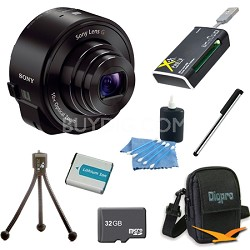 DSC-QX10/B Smartphone attachable lens-style camera (Black) 32GB Bundle