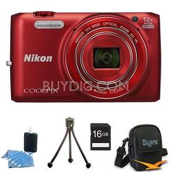 COOLPIX S6800 16MP 1080p HD Video Digital Camera Red 16GB Kit