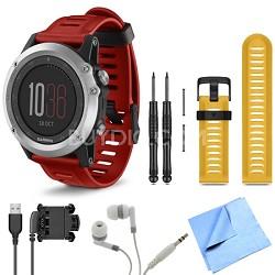 fenix 3 Multisport Training Silver GPS Watch Yellow Band Bundle