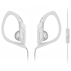 HS34 Sports Clip Earbud Headphones with Mobile Controller, White