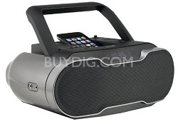Portable Music System/Boom Box with Docking Station and Recharger for iPod (Blac