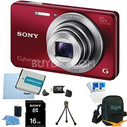 Cyber-shot DSC-W690 16MP 10X Zoom 720p Video Digital Camera (Red) 16GB Bundle