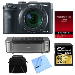 Powershot G3 X Digital Compact Camera and Printer Bundle