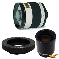 800mm F8.0 Mirror Lens for Pentax with 2x Multiplier (White Body) - 800M