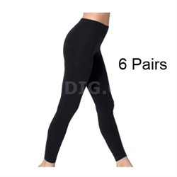 Black Opaque Footless Soft & Warm Fleece-Lined Leggings - 6 Pairs