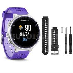 Forerunner 230 GPS Running Watch, Purple Strike - Black/White Watch Band Bundle