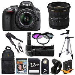 D3300 DSLR HD Black Camera Landscape Photographer Bundle