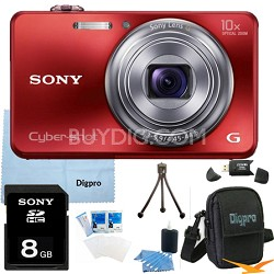 Cyber-shot DSC-WX150 18.2 MP 10x Optical HD Video Camera (Red) 8GB Bundle
