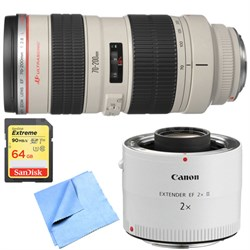 EF 70-200mm F/2.8L USM Lens w/ Telephoto Extender + 64GB Memory Card Bundle