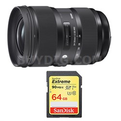24-35mm F2 DG HSM Standard-Zoom Lens and 64GB Card Bundle