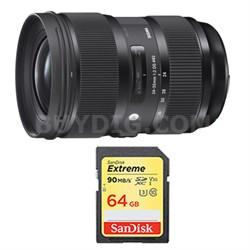 24-35mm F2 DG HSM Standard-Zoom Lens and 64GB Card Bundle