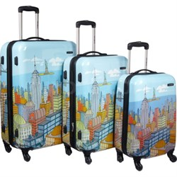"CityScapes NYC 3 Piece Premium 20"", 24"", 28"" Spinner Luggage Set - OPEN BOX"