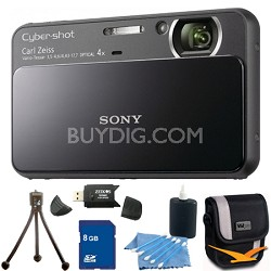 Cyber-shot DSC-T110 Black Touchscreen Digital Camera 8GB Bundle