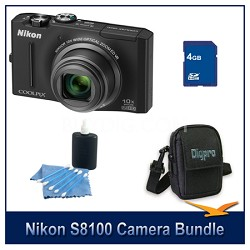 COOLPIX S8100 Black Digital Camera 4GB Bundle w/ Case and Cleaning Kit