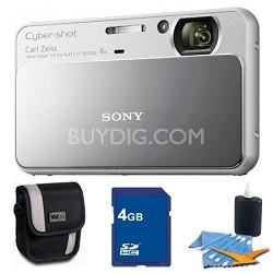Cyber-shot DSC-T110 Silver Touchscreen Digital Camera 4GB Bundle
