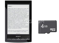 """PRS-T1 6"""" Digital E-Ink Pearl eReader with Wi-Fi (Black) + 4GB Micro SD Card"""