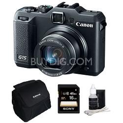 Powershot G15 12 MP High-Performance Digital Camera 16GB Bundle Deal