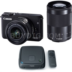 EOS M10 Camera w/ EF-M 15-45mm and EF-M 55-200mm Lenses + 1TB CS100 Storage Hub