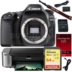 EOS 80D 24.2 MP CMOS DSLR Camera Body, Pro-100 Printer, Paper & 64GB Card Bundle