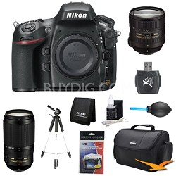 D800E 36.3 MP CMOS FX-Format Digital SLR Camera Body 24-85 and 70-300mm Lens Kit