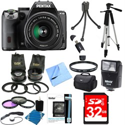 K-S2 20MP DSLR Camera Kit with 18-50mm WR Lens Black Ultimate Bundle
