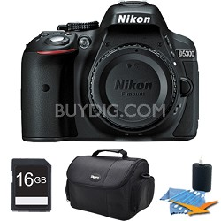 D5300 DX-Format Digital 24.2 MP SLR Body (Black) Plus 16 GB Memory Card Bundle