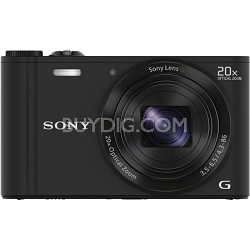 DSC-WX300/B Black 18.2MP Digital Camera with 20x Opt. Image Stabilized Zoom
