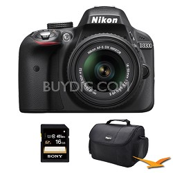 D3300 DSLR 24.2 MP HD 1080p Camera with 18-55mm Lens Black Kit