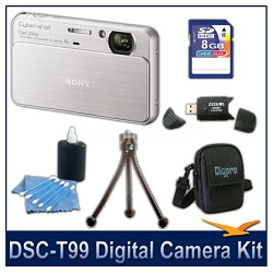 DSC-T99 14MP Silver Touchscreen Digital Camera with 8GB Card, Case, and more